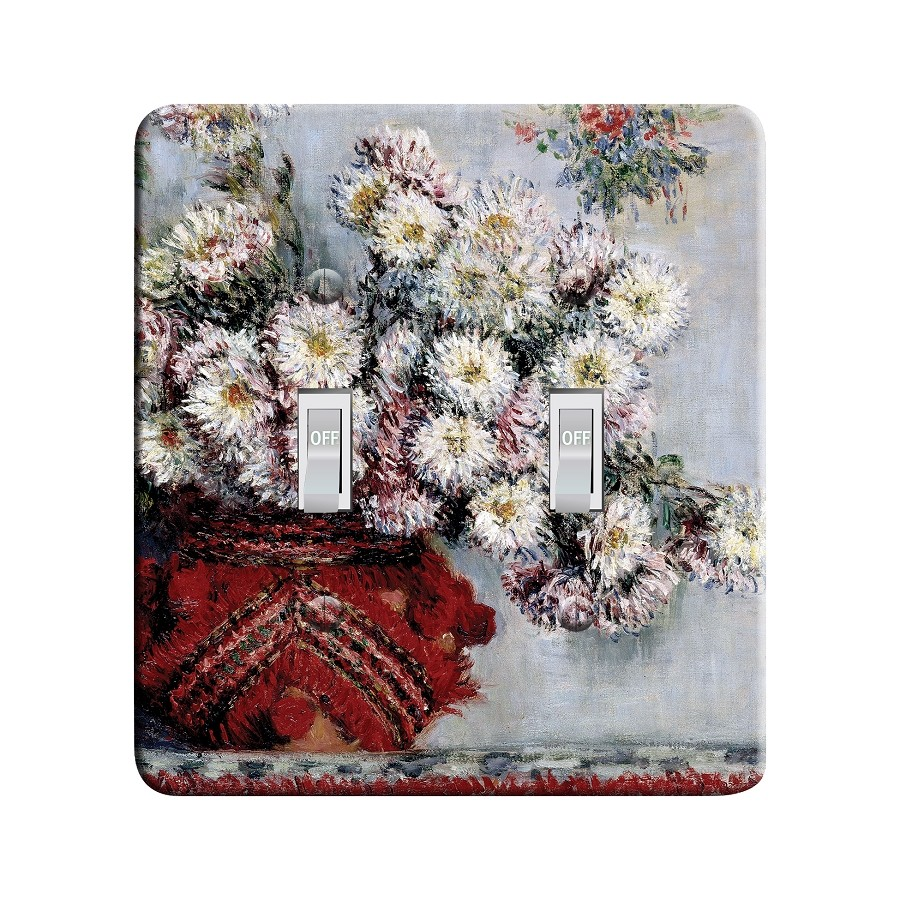 Embossi Printed  Monet Chrysanthemum Still Life - Light Switch / Outlet Cover Custom Plate Choose Style, 97 L