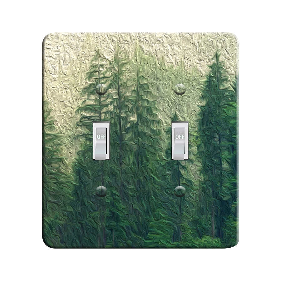 Embossi Printed Maxi Metal Pine Trees Plate - Light Switch / Outlet Cover Custom Plate Choose Style, 0098 D