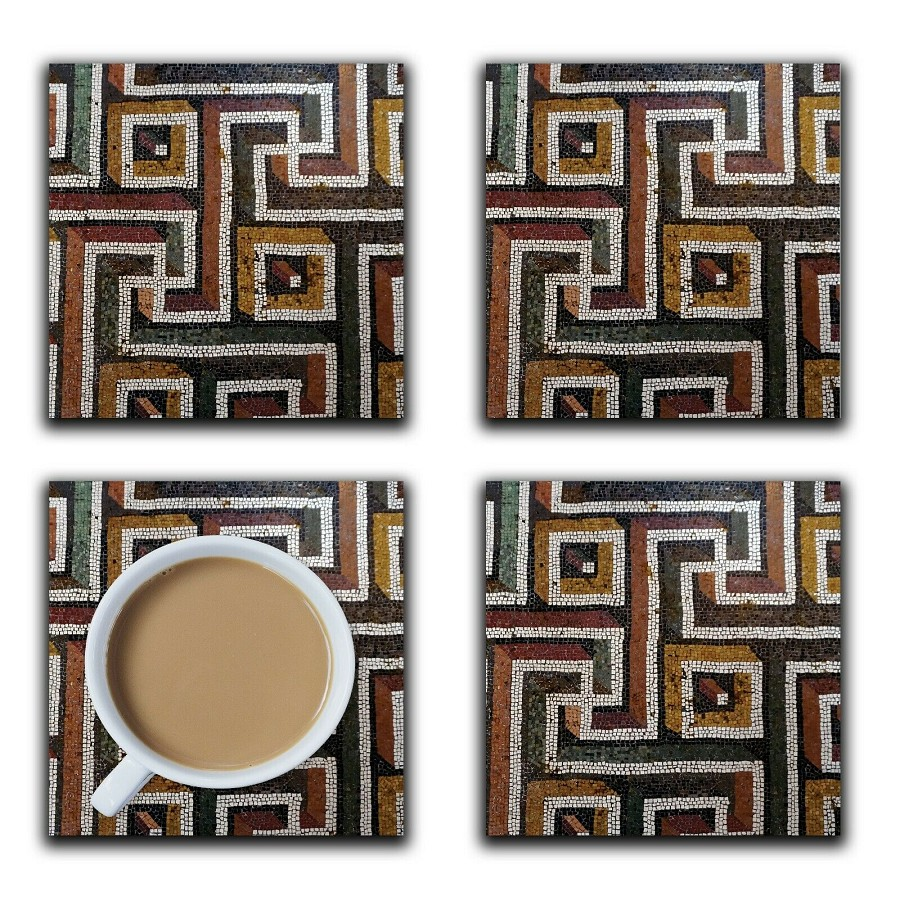 Embossi Printed Roman Geometric Mosaic Tiles, choose wood or ceramic tile, set of 4