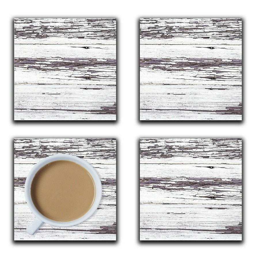 Embossi Printed Abandon Farmhouse Weathered White, wood or ceramic tile, set of 4