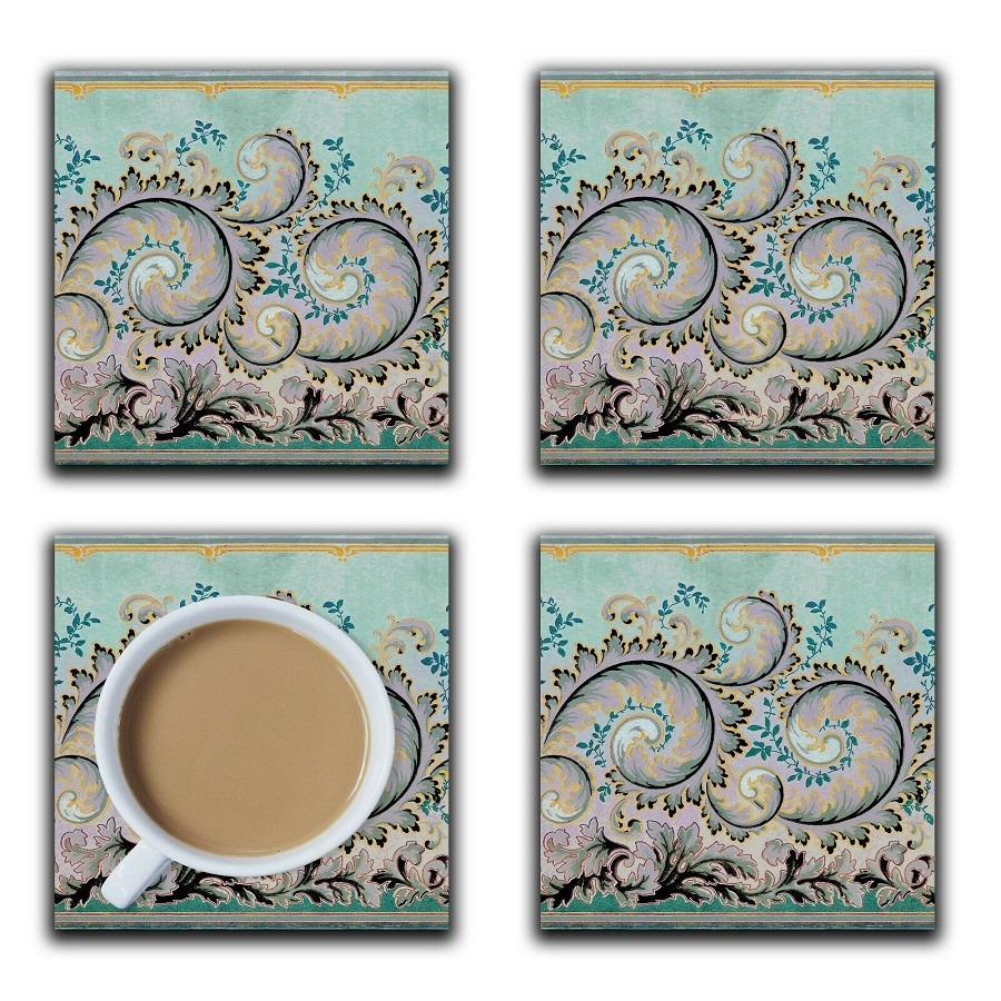 Embossi Printed American 1890 Tendril Pattern, choose wood or ceramic tile, set of 4