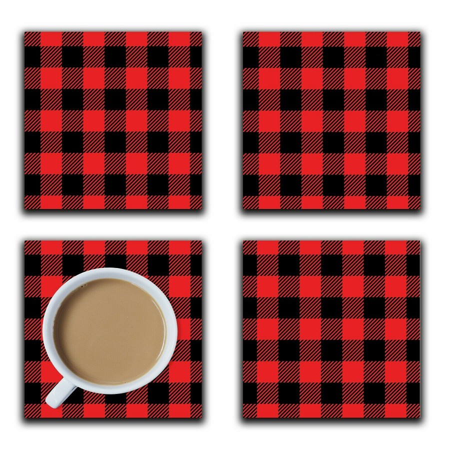 Embossi Printed Black and Red Buffalo Plaid, choose wood or ceramic tile, set of 4