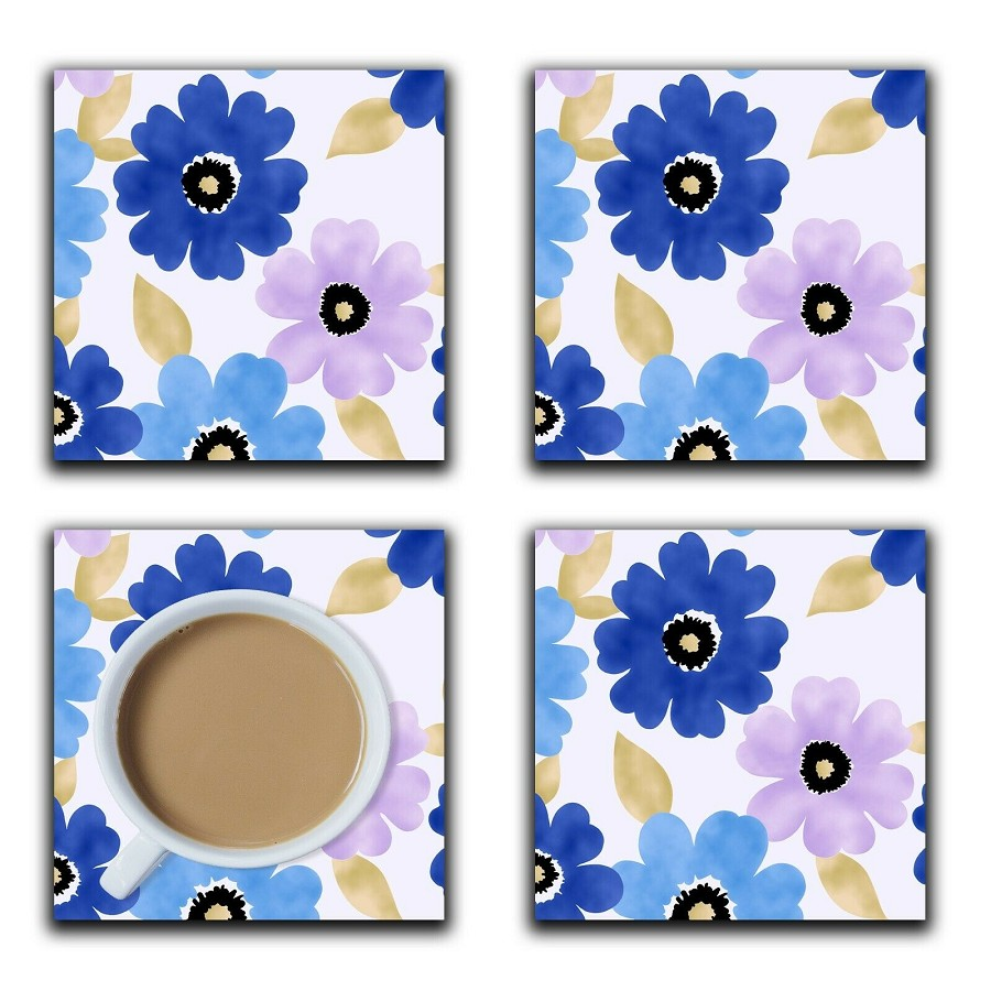 Embossi Printed Cool Colors Cosmos Pattern, wood or ceramic tile, set of 4