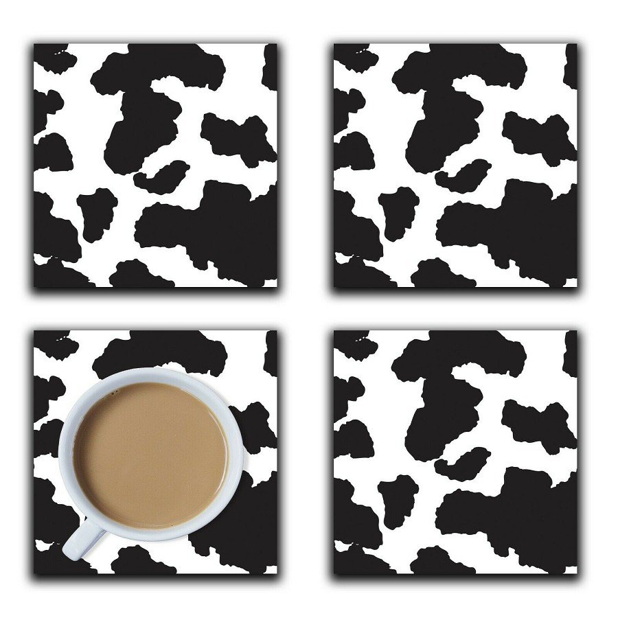 Embossi Printed Black and White Cow Pattern, wood or ceramic tile, set of 4