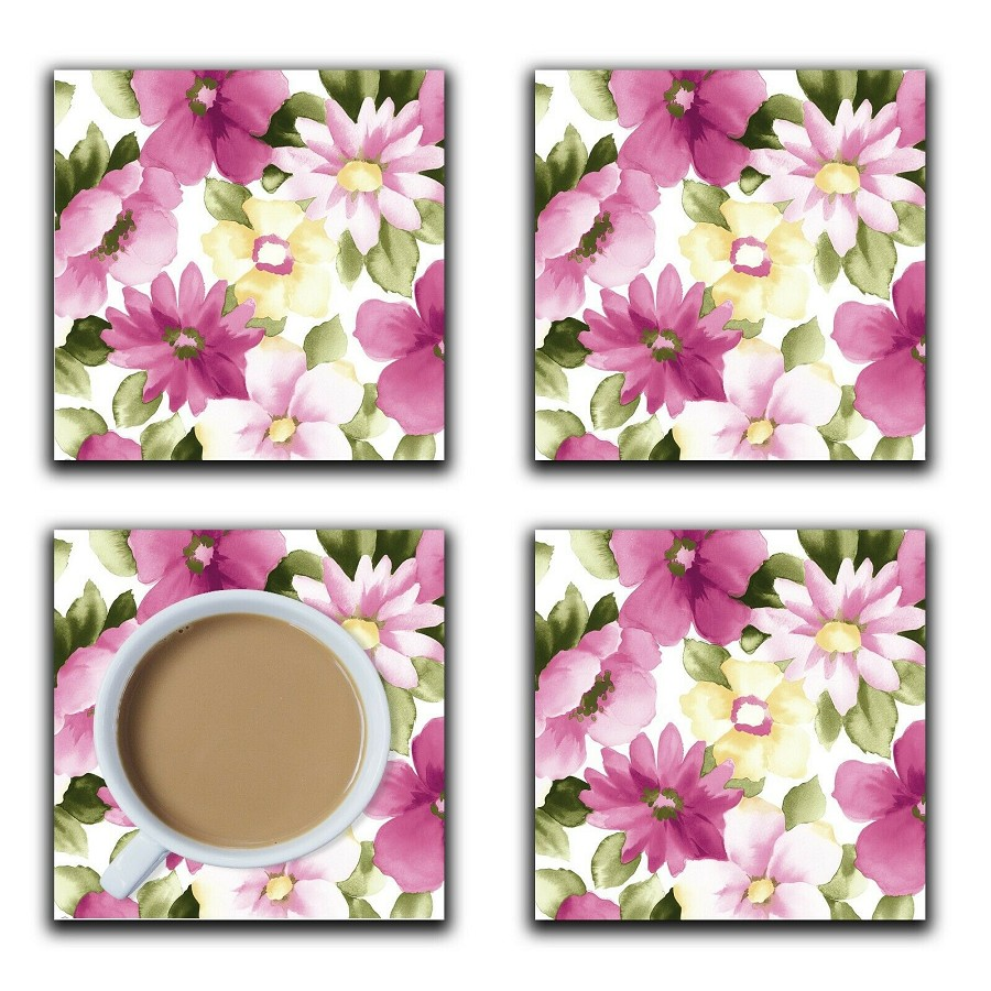 Embossi Printed Floral Pink and Green Pattern, wood or ceramic tile, set of 4