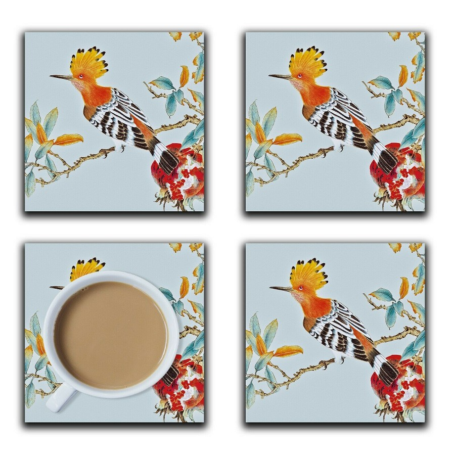 Embossi Printed Hoopoe Bird and Pomegranite, wood or ceramic tile, set of 4