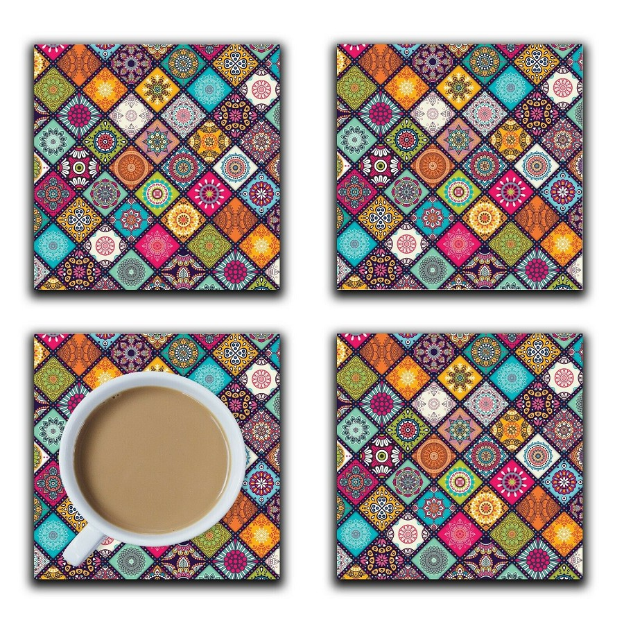 Embossi Printed Mandala Tiles, wood or ceramic tile, set of 4 Coasters
