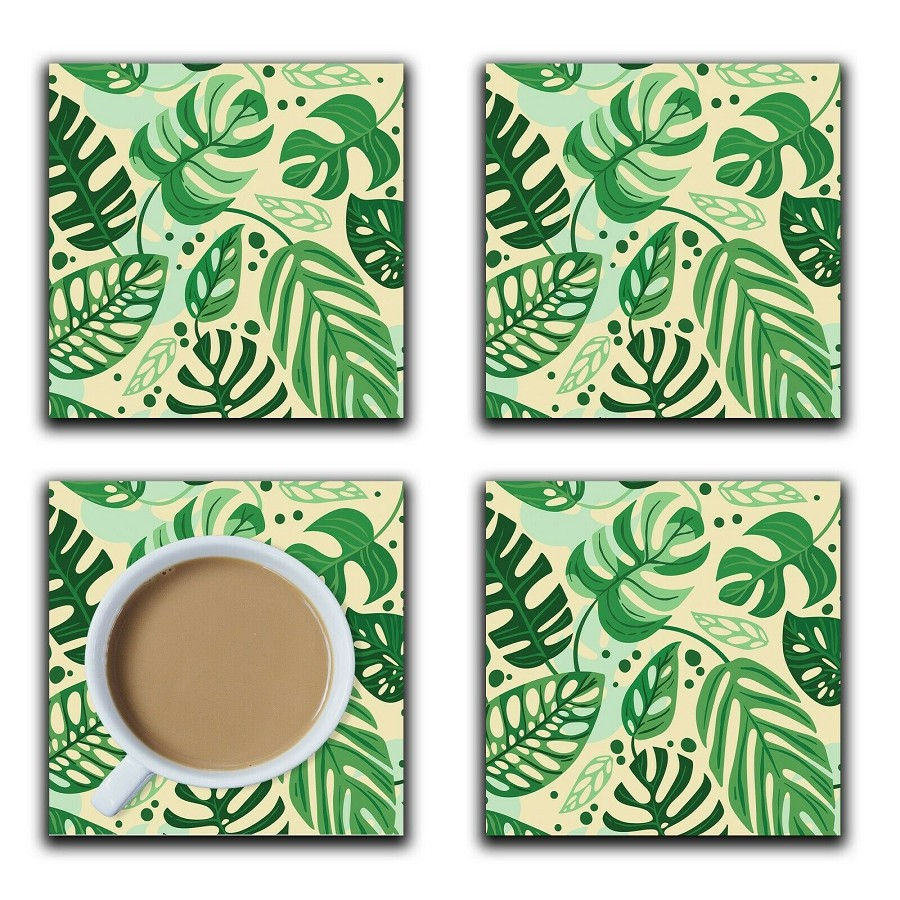 Embossi Printed Monstera Leaves, wood or ceramic tile, set of 4 Coasters