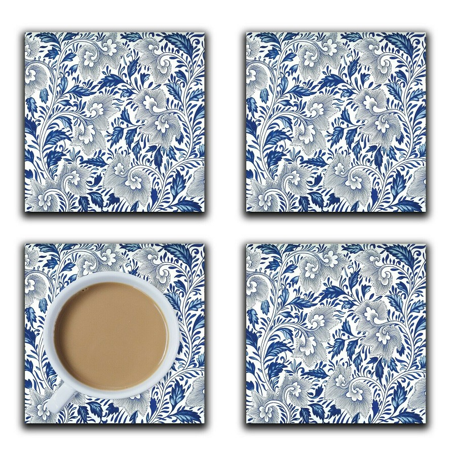 Embossi Printed Owen Jones Blue and White, wood or ceramic tile, set of 4 Coasters