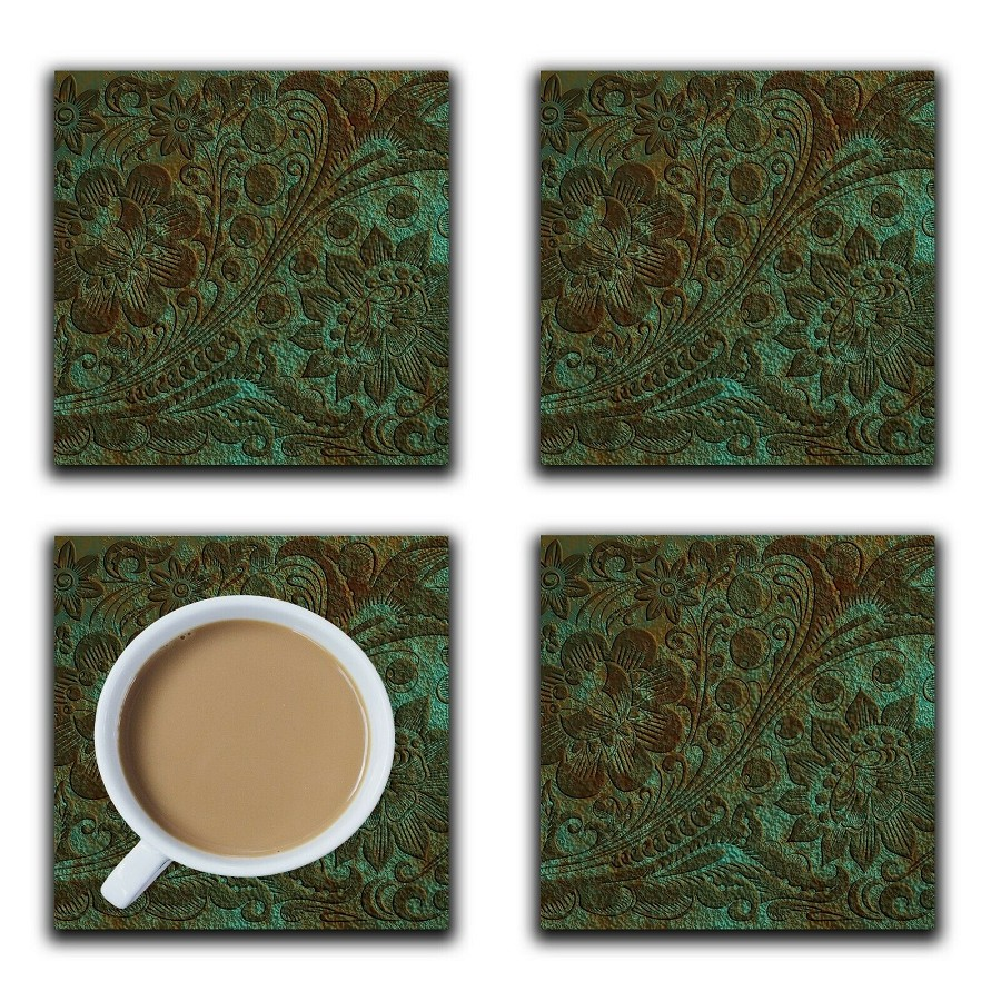 Embossi Printed Patina Bronze Roman Acanthus, wood or ceramic tile, set of 4 Coasters