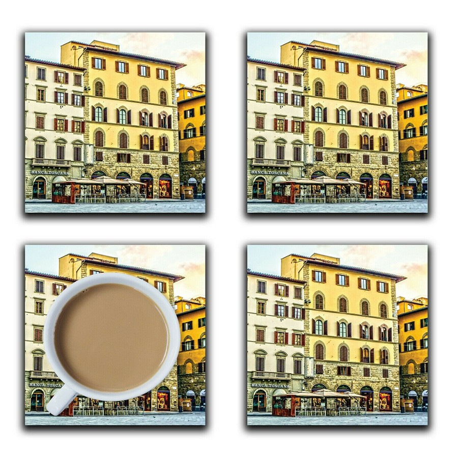 Embossi Printed Tuscan Florence Italy, wood or ceramic tile, set of 4 Coasters