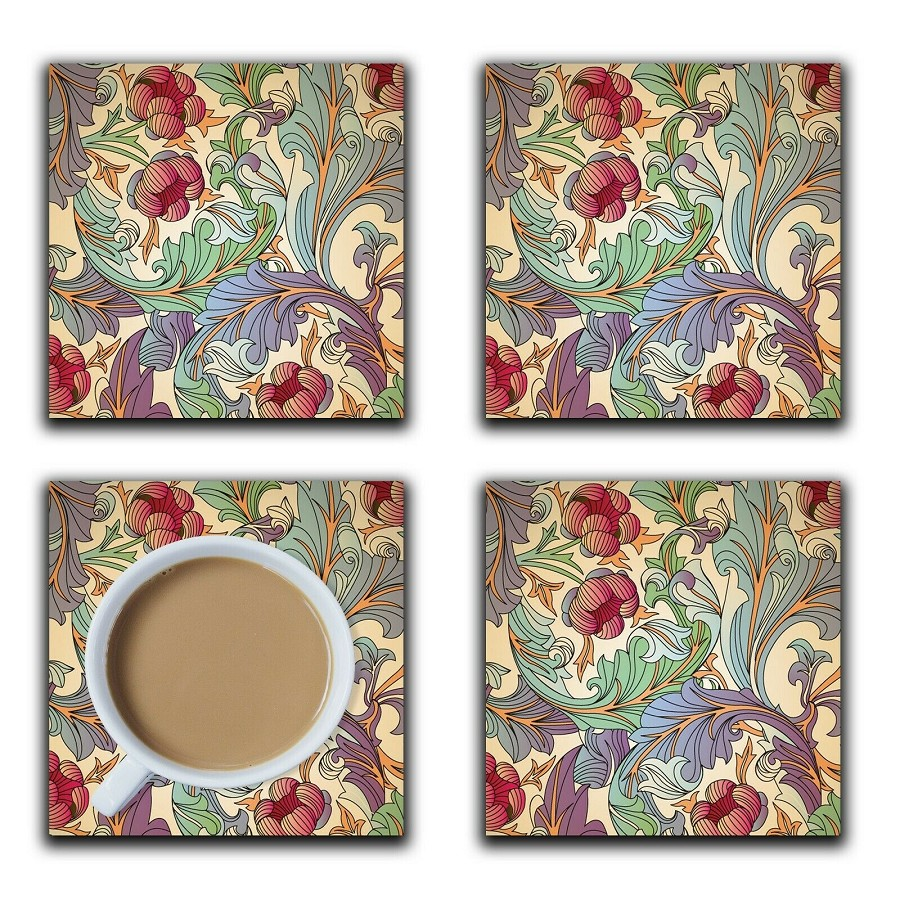 Embossi Printed Vintage Floral, wood or ceramic tile, set of 4