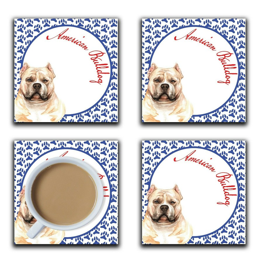 Embossi Printed American Bulldog, wood or ceramic tile, set of 4 Dog Coasters