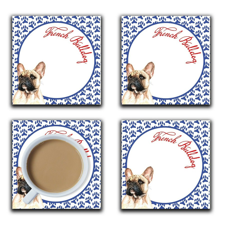 Embossi Printed French Bulldog, wood or ceramic tile, set of 4 Dog Coasters