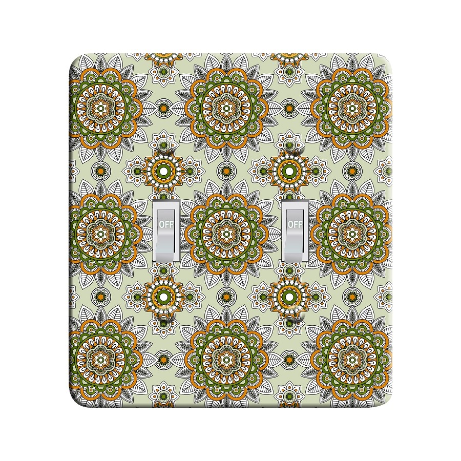 Embossi Printed Maxi Metal Sunflower Mandala Plate - Light Switch / Outlet Cover Custom Plate Choose Style, 0012 DB