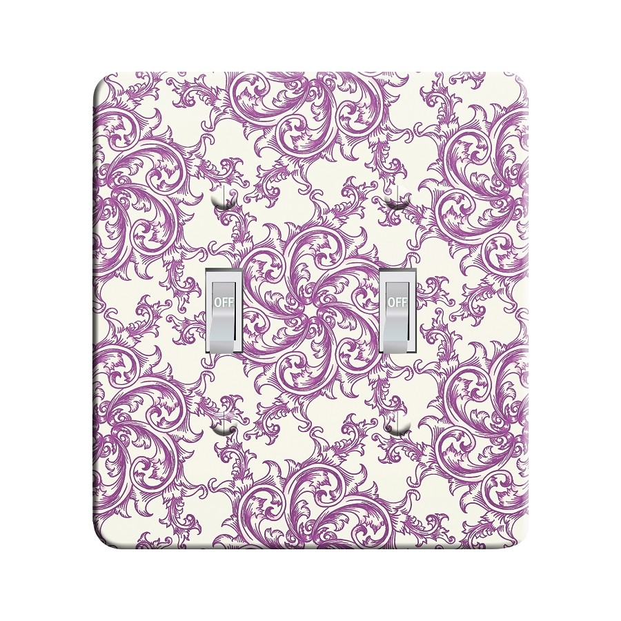 Embossi Printed Purple Medieval Flourish Pattern- Light Switch / Outlet Cover Custom Plate Choose Style, 15 D 1