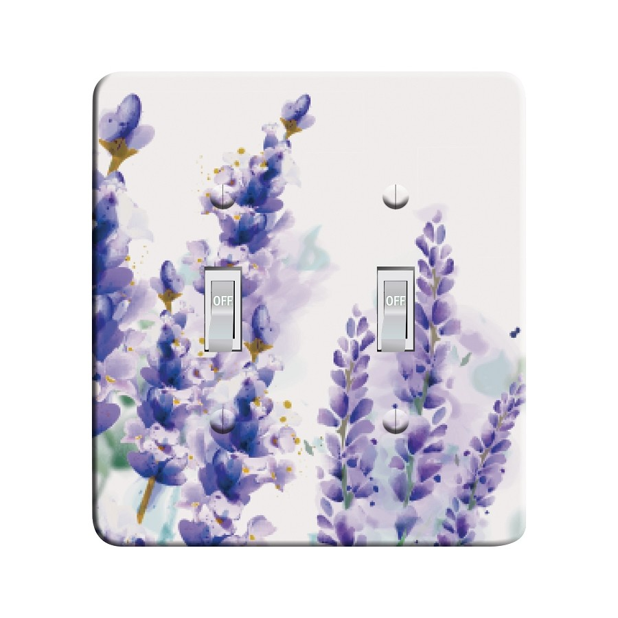 Embossi Printed Maxi Metal Watercolor Lavender Plate - Light Switch / Outlet Cover Custom Plate Choose Style, 0167 L
