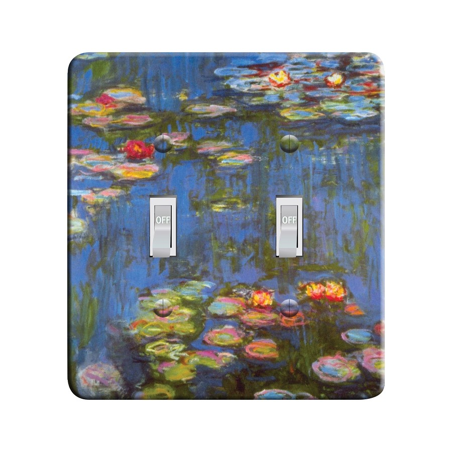 Embossi Printed Monet Water Lilies - Light Switch / Outlet Cover Custom Plate Choose Style, 21 D