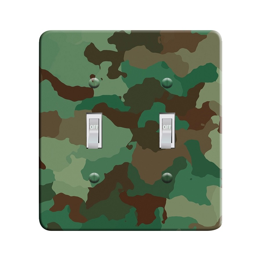 Embossi Printed Classic Camo - Light Switch / Outlet Cover Custom Plate Choose Style, 25 D