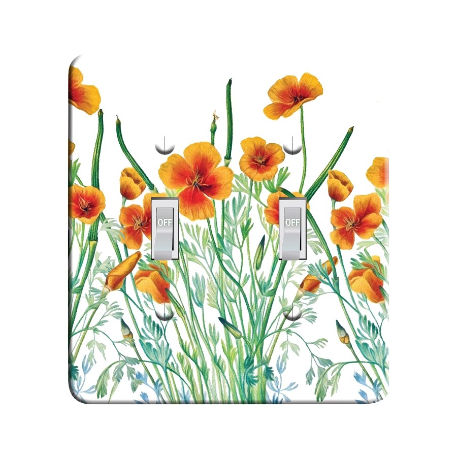Embossi Printed Maxi Metal California Poppy Plate - Light Switch / Outlet Cover Custom Plate Choose Style, 0269 L