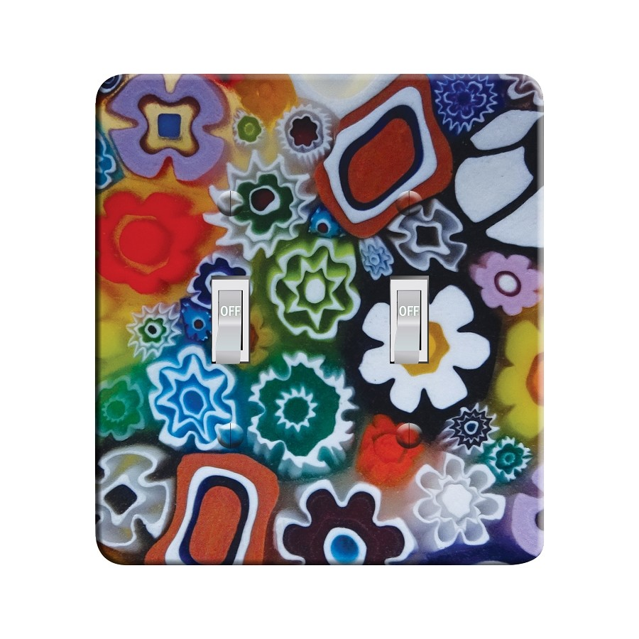 Embossi Printed Millefiori - Light Switch / Outlet Cover Custom Plate Choose Style, 31 D