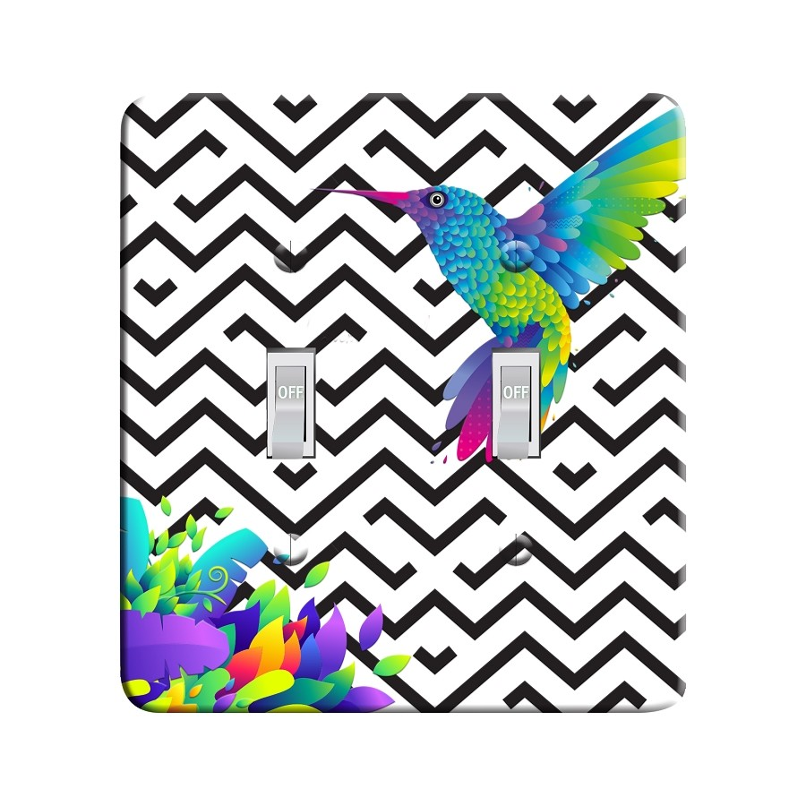 Embossi Printed Rainbow Hummingbird Light Switch / Outlet Cover Custom Plate Choose Style, 493