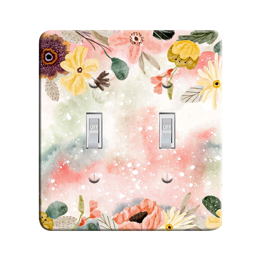 Embossi Printed Warm Pastel Flowers Light Switch / Outlet Cover Custom Plate Choose Style, 505
