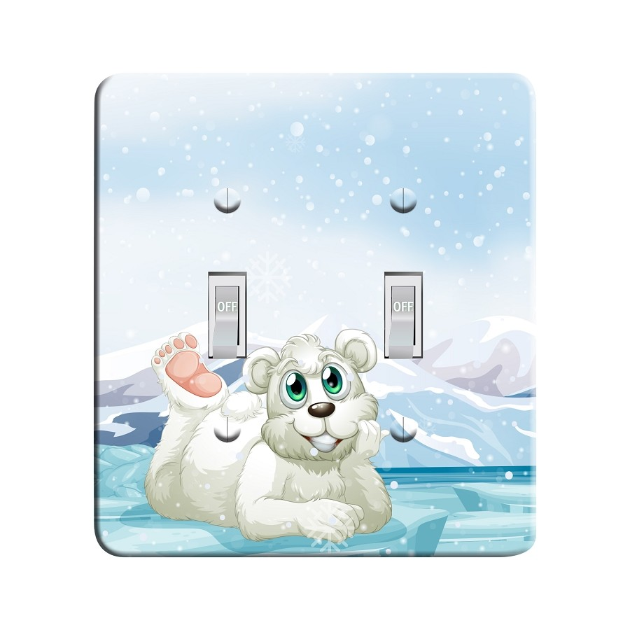 Embossi Printed Warm Arctic Polar Bear  Light Switch / Outlet Cover Custom Plate Choose Style, 506