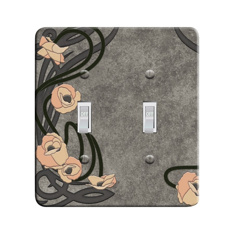 Embossi Printed Maxi Metal Art Nouveau Poppy Plate - Light Switch / Outlet Cover Custom Plate Choose Style, 0521 L