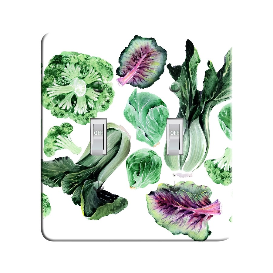 Embossi Printed Maxi Metal Watercolor Greens Vegetables Plate - Light Switch / Outlet Cover Custom Plate Choose Style, 0526 L