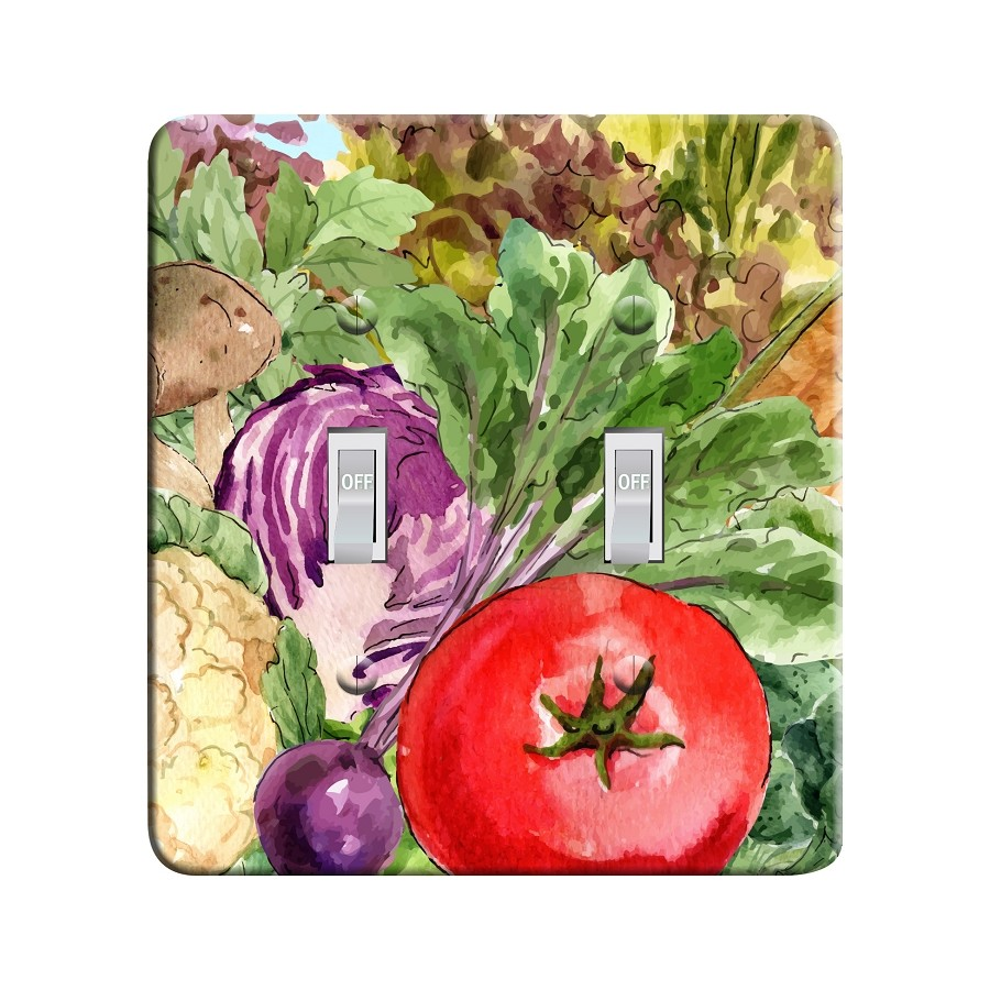 Embossi Printed Maxi Metal Watercolor Greens Vegetables Plate - Light Switch / Outlet Cover Custom Plate Choose Style, 0527 L