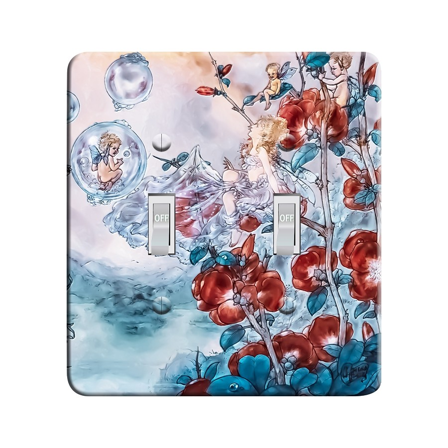 Embossi Printed Fairies and Bubbles - After Harold Gaze Light Switch / Outlet Cover Custom Plate Choose Style, 700