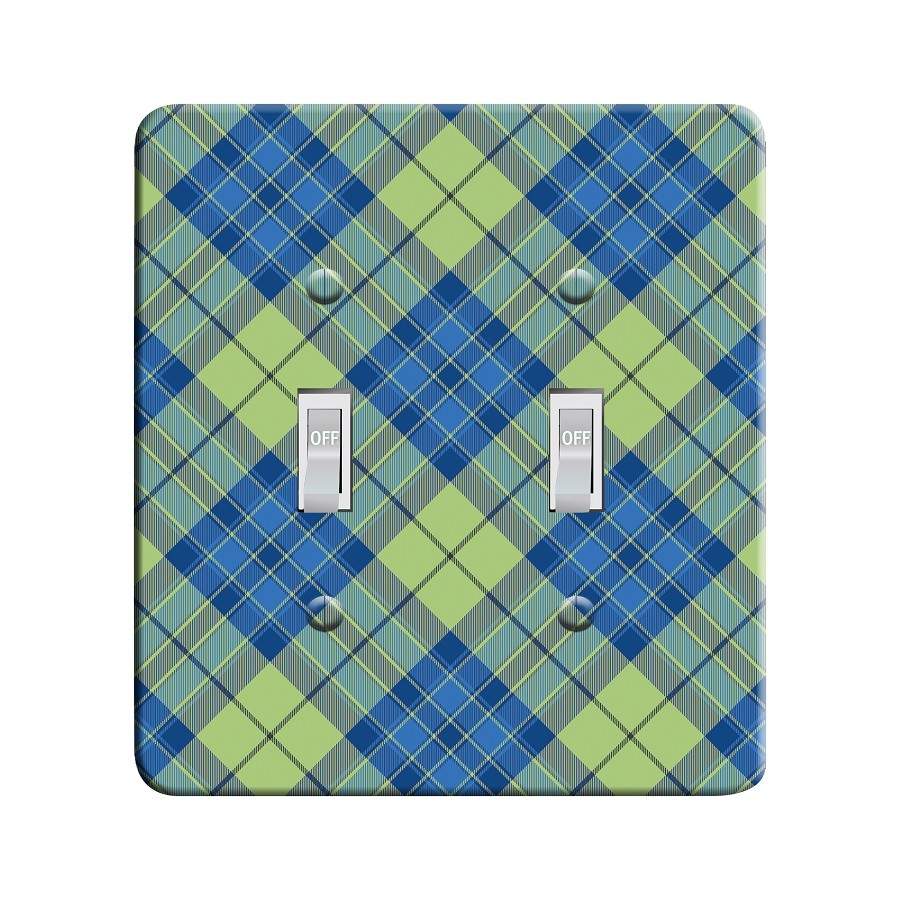 Embossi Printed  Van Gogh Iris Tartan - Light Switch / Outlet Cover Custom Plate Choose Style, 77 DB